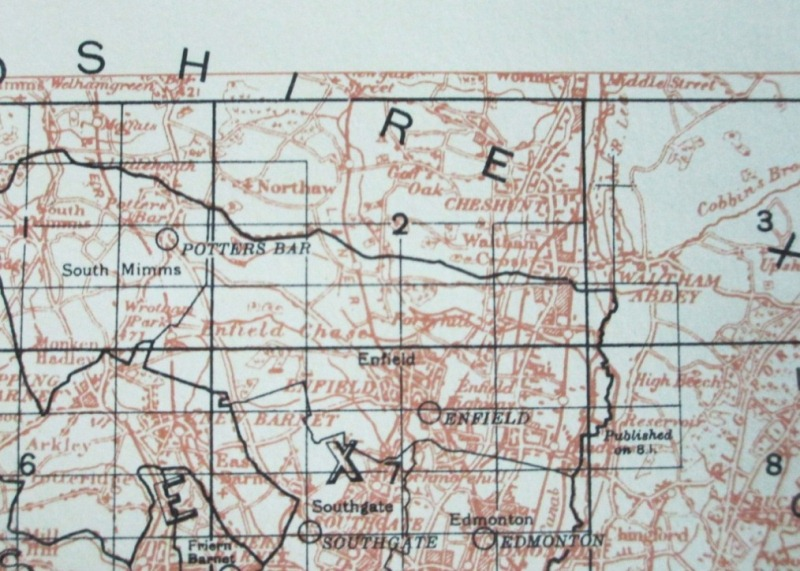 A close-up of the index map for Middlesex. Catalogue reference: MAF 73/64, map 27.