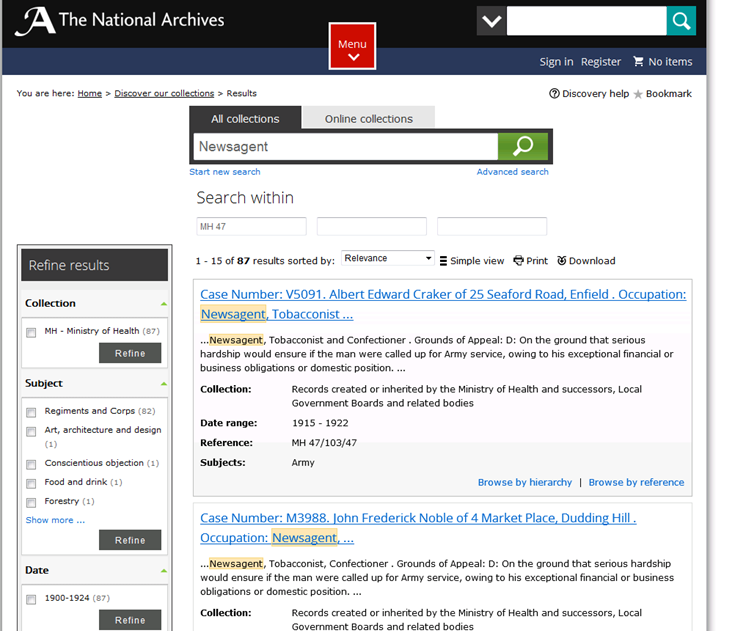 Discovery advanced search results when searching for Newsagents within the collection highlights 87 case papers