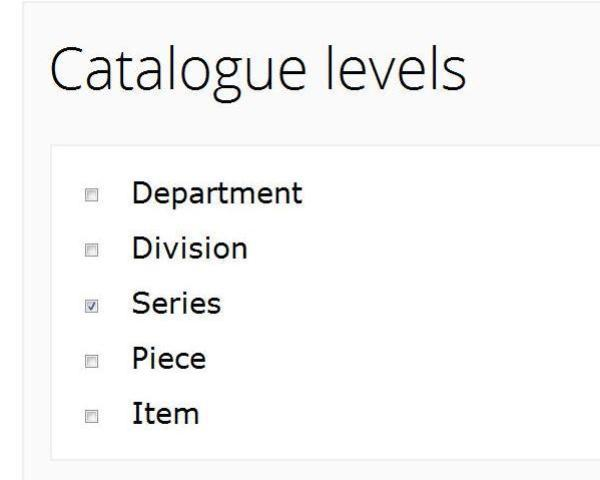 Using Discovery's advanced search screen to restrict a search to catalogue descriptions of series.