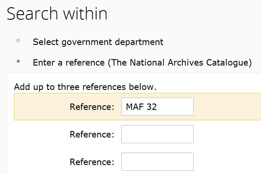 Using the advanced search screen to search for records within series MAF 32.