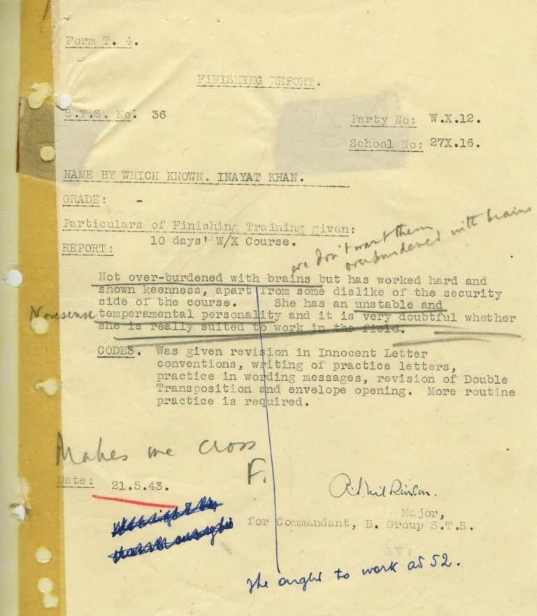 Page of a report giving final observations of Noor Inayat Kahn at the end of her training. These negative comments are annotated with contradictory comments.