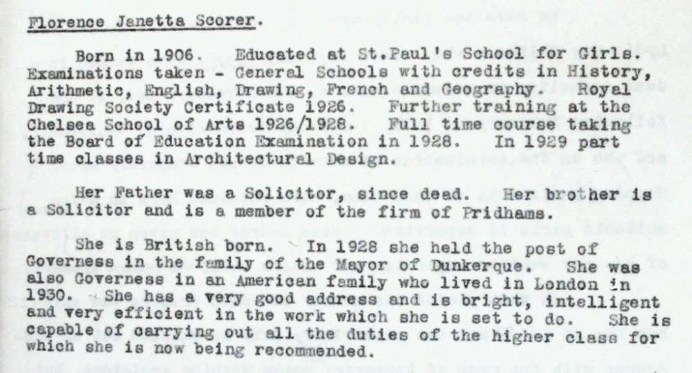 A brief biography of Janetta Scorer. Catalogue reference: LAR 1/155, letter of 25 June 1934.