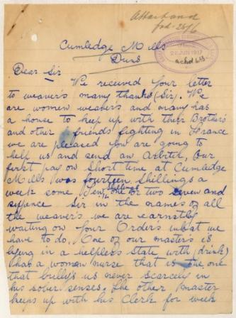 Image of a letter from striking weavers working at Cumledge Mills