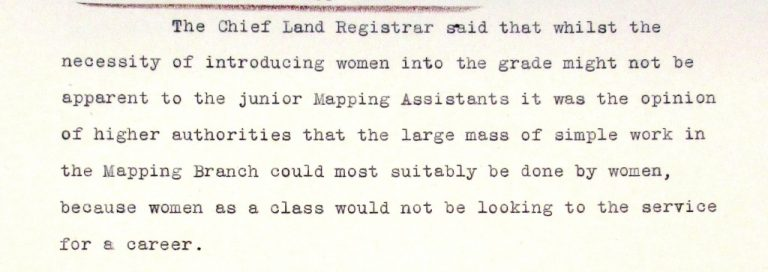 For a woman, working at the Land Registry in the 1930s was a job but not a career. Catalogue reference: LAR 1/156, minutes of meeting on 27 January 1931.