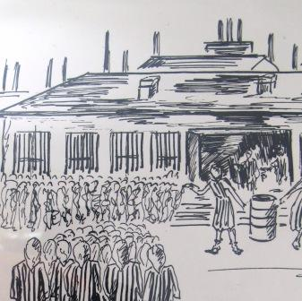 Drawing by Violette Lecoq of scenes in Ravensbruck concentration camp