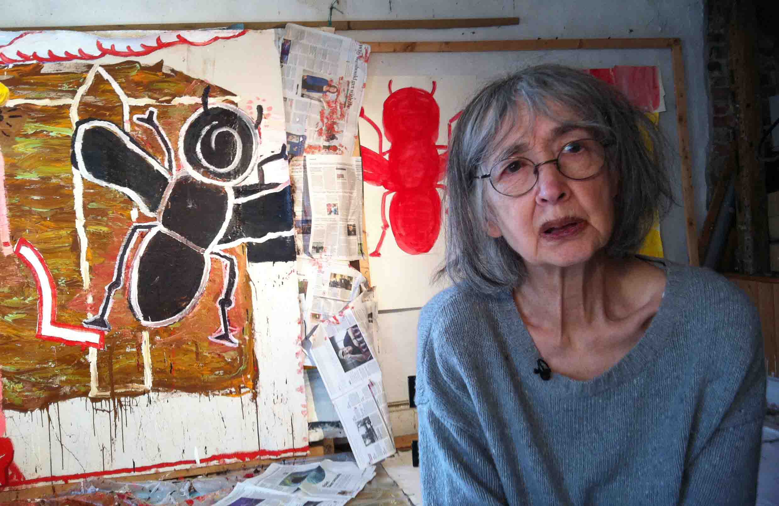 Artist Rose Wylie at her studio in Kent. By permission of Channel 4 News.
