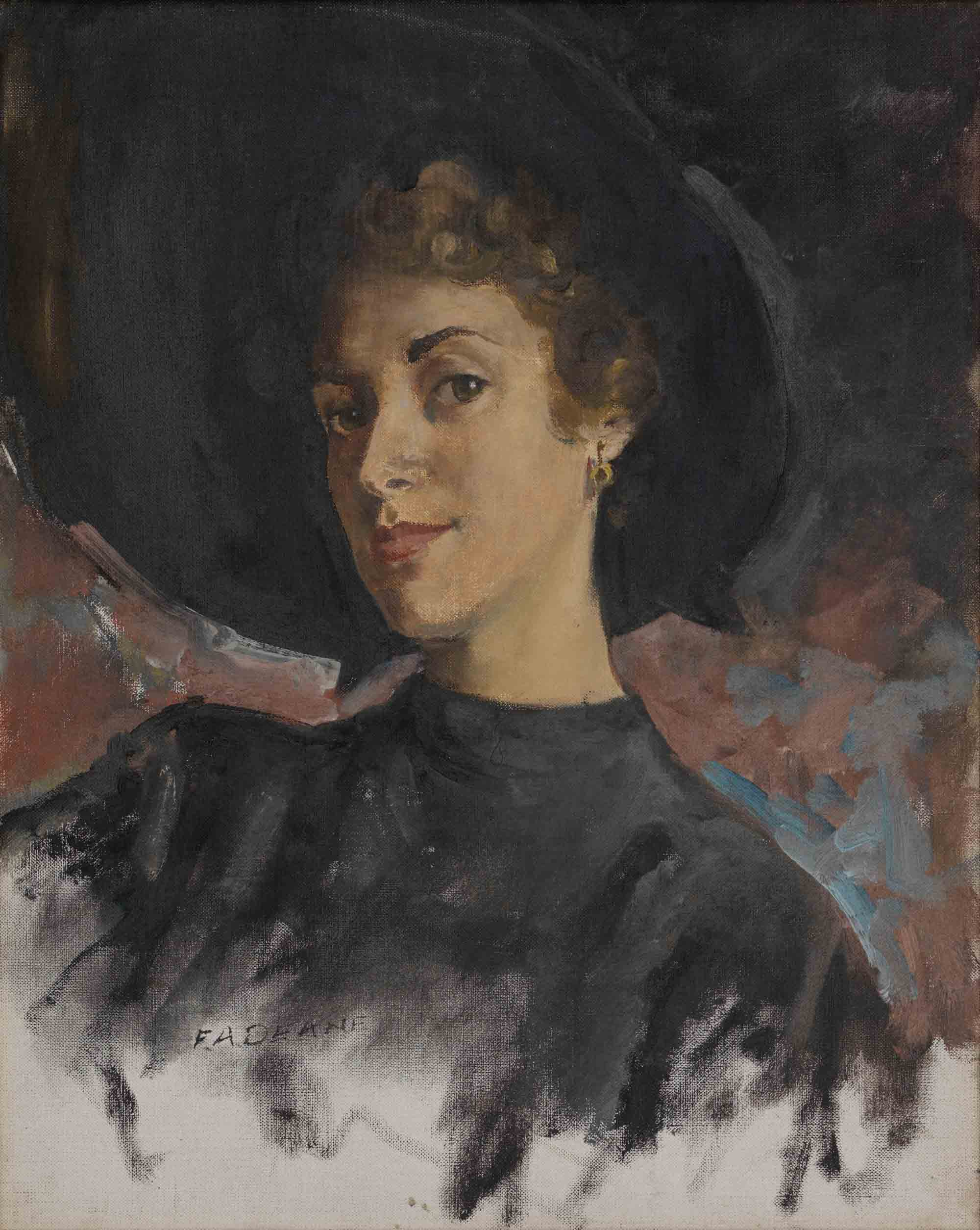 Frederick Deane, Untitled (Rhona Lanzon), c.1950, Oil on Canvas, 20 x 16 inches. Ref: R/AeroGirls. Borthwick Institute for Archives. By permission of Nestlé UK.
