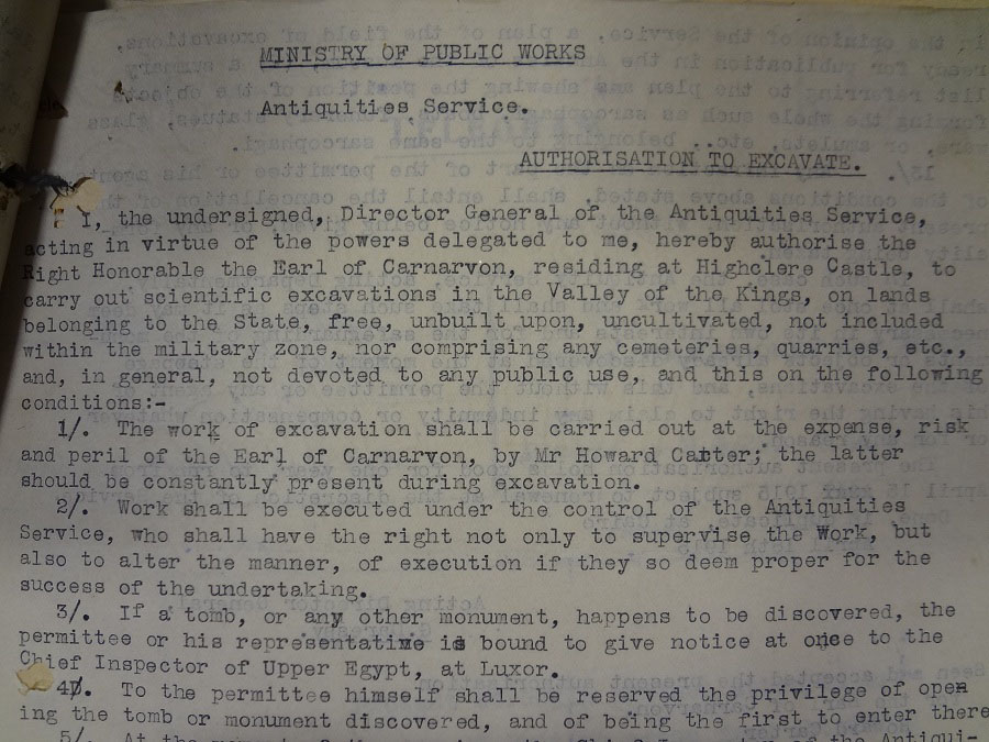 Authorisation to excavate in the Valley of the Kings, 1915. FO 141/483