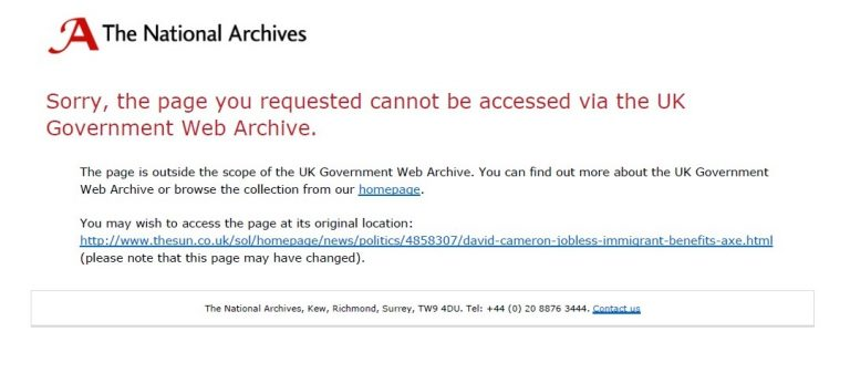 Message displayed for links that do not go to a UK government website