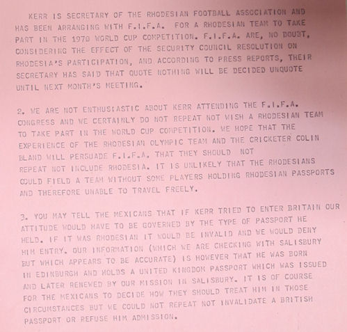 Report on Rhodesia's participation in the World Cup (FCO 36/326)