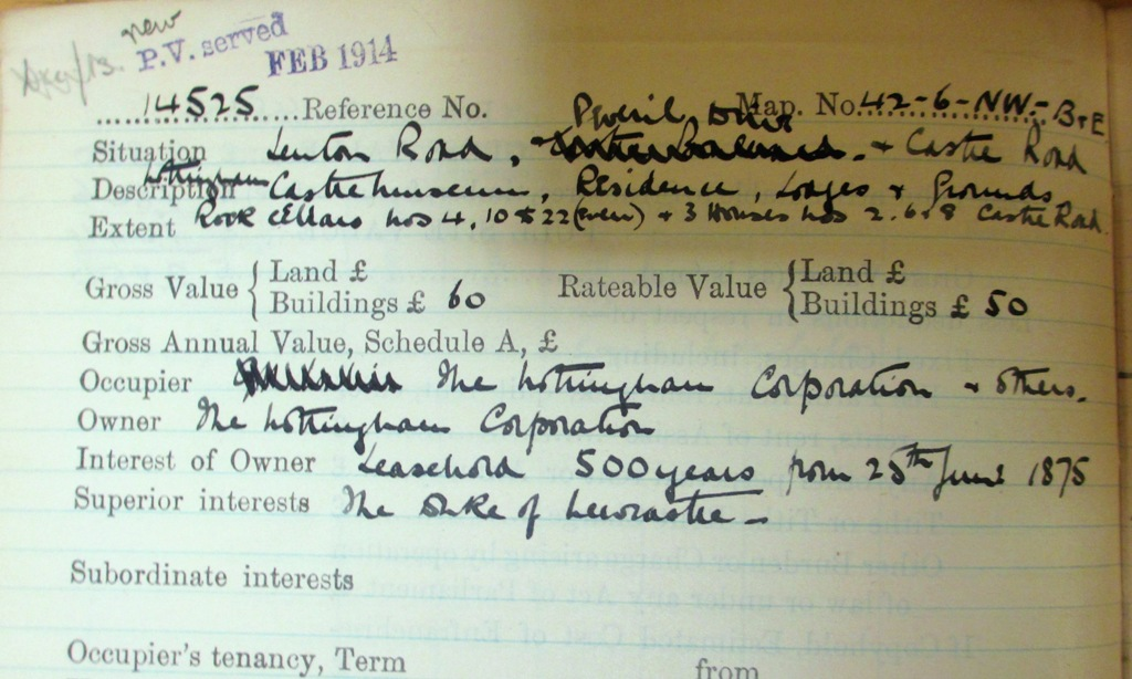 Part of the field book entry for Nottingham Castle. Catalogue reference: IR 58/63072, no 14525