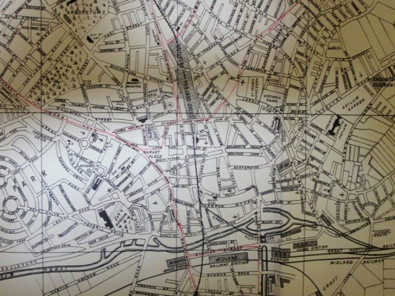 The red lines marking agreed and proposed tram routes were probably added to this street plan in about 1902. Catalogue reference: RAIL 1033/91