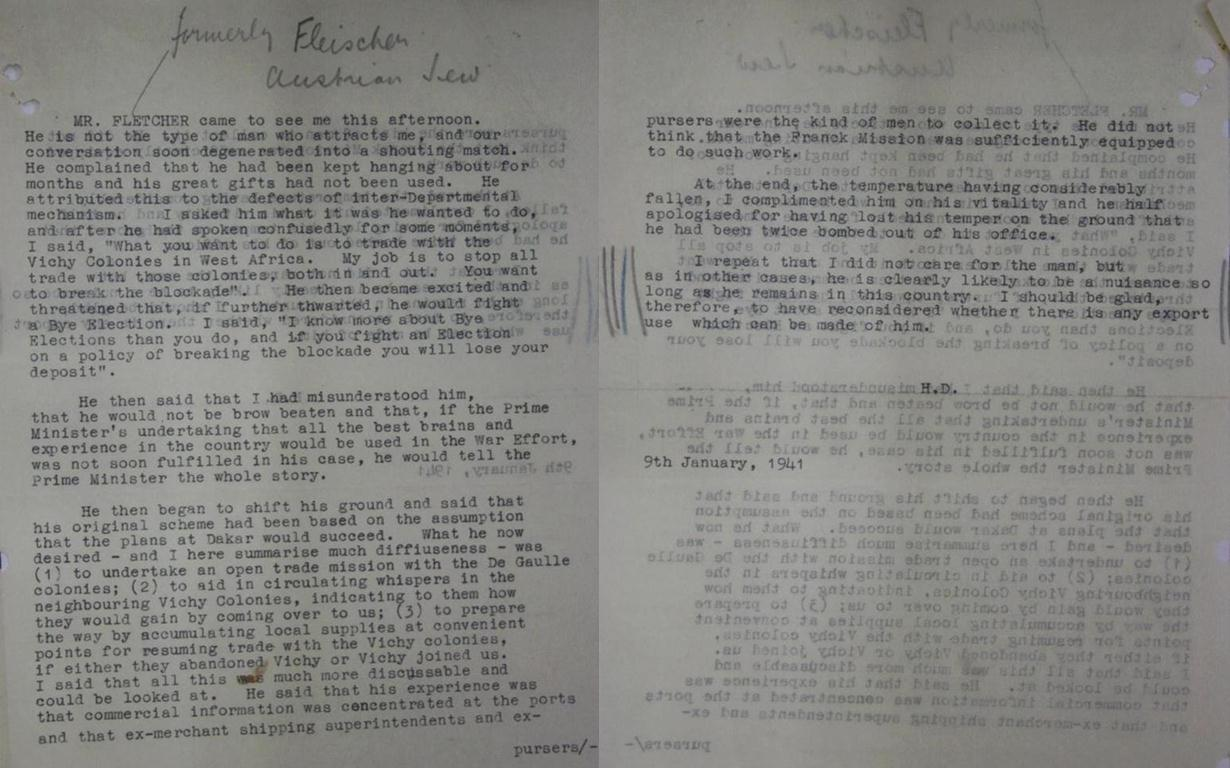 Hugh Dalton's memo concerning his argument with Walter Fletcher over smuggling in the French African Colonies.