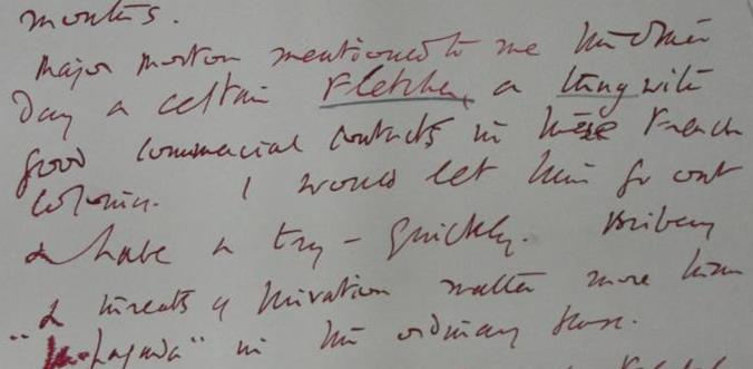 Hugh Dalton's note on Walter Fletcher, calling him 'a thug with good commercial contacts in...French Colonies'