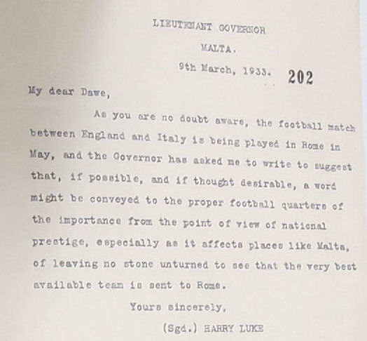 Extract of a letter from the Governor of Malta on the national prestige (FO 395/492)