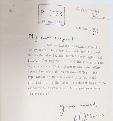 Foreign office letter stating 'no stone unturned' to win the match (FO 395/492)
