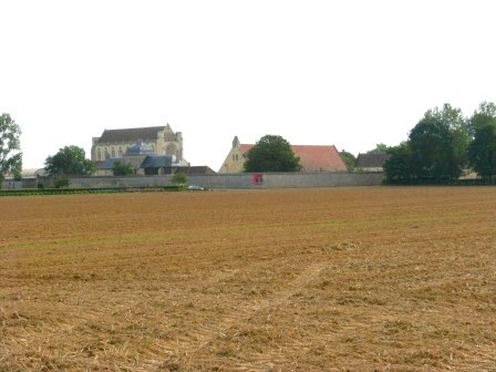 L'Abbaye d'Ardenne across the fields. Linda Stewart.