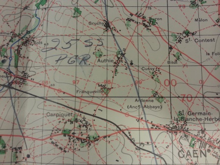War Office map, 1:50,000 France, sheet 7 /F1 inserted into TS 26/850 and annotated 'Enemy situation (from memory) from about 9 -15 June 1944'