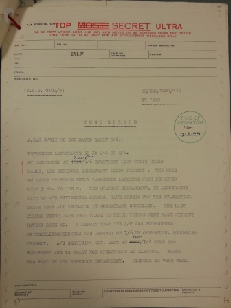 HW1/2927 Government Code and Cypher School: Signals Intelligence Passed to the Prime Minister