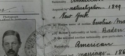 Image of a page from an aliens' passport, showing parents' nationalities