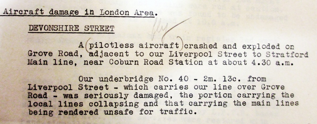 Part of the London and North Eastern Railway's report on the same incident. Catalogue reference: RAIL 390/1192, report dated 28 June 1944.