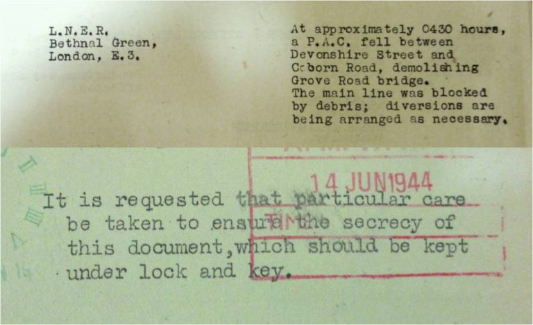 Above: Part of a 'key points' report, noting disruptions to essential supplies and services, such as transport links. Catalogue reference: HO 201/22, no 168, p 4. Below: Government records of bombing were kept secret at the time. They were declassified in 1972. Catalogue reference: HO 202/10, no 208, p 1.