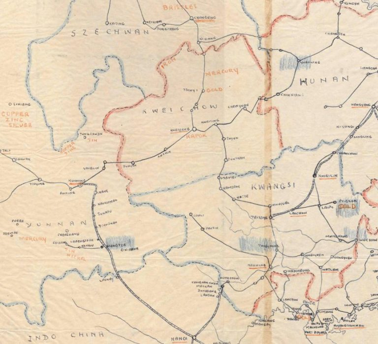 A section of an economic map of China, with resources marked in red. Blue shaded areas indicate Wolfram. This section includes the sites where Operation Remorse would eventually be based: Kunming, Chungking, Mengtsz (or Mengtze), and Kweilin. The Chinese Postal Map system of Romanisation is commonly used in these files, and I use it throughout for convenience. Catalogue Reference: HS 1/293.