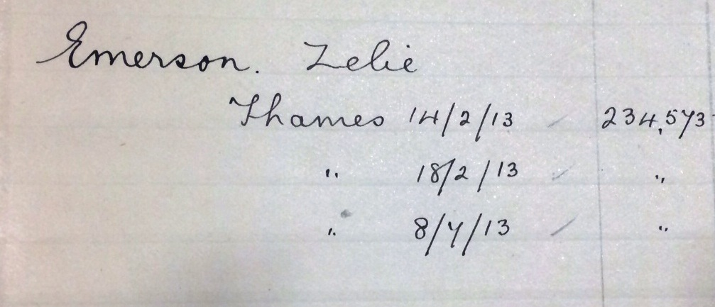 Record of Zelie Emerson's police encounters as listed in HO 45/24665, SUFFRAGETTES: Amnesty of August 1914: index of women arrested 1906-1914
