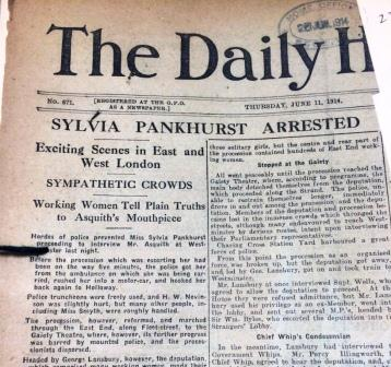 Cutting from the The Daily Herald concerning the re-arrest of Sylvia Pankhurst, HO 144/1558/234191