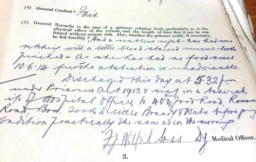 Medical resport on the day of Sylvia Pankhursts release from prison, 18/06/1914. Catalogue reference HO 144/1558/234191