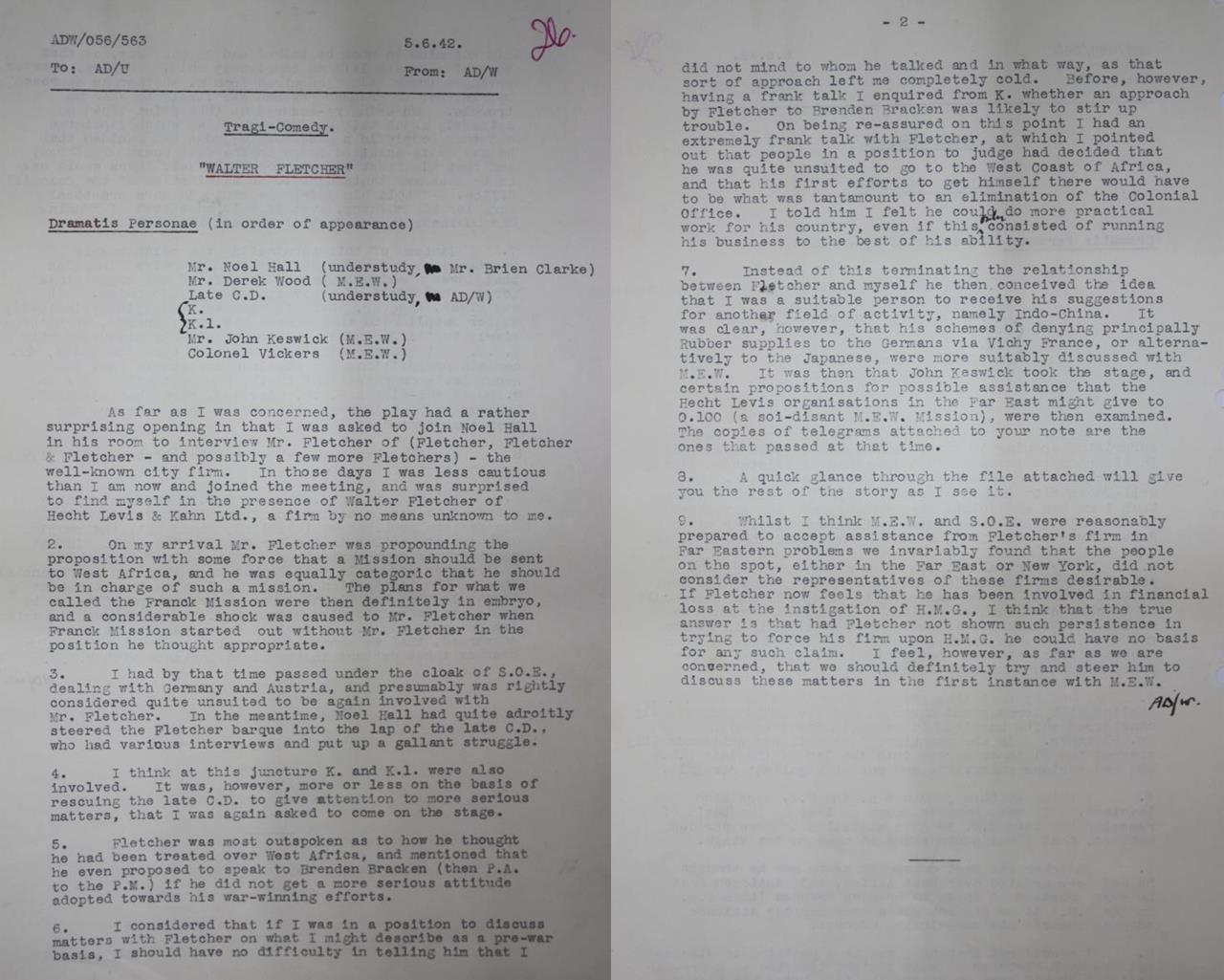'A Tragi-Comedy: Walter Fletcher'. A mocking internal memo concerning Fletcher's dealings with the Special Operations Executive. Catalogue Reference: HS 1/192.