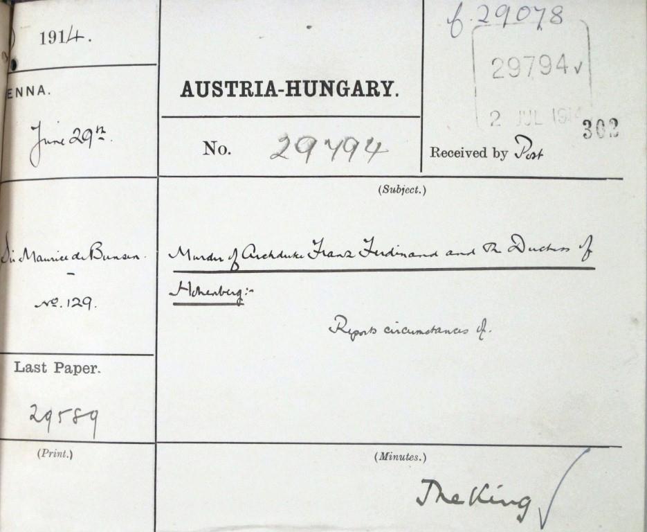 Despatch from Sir Maurice de Bunsen to Sir Edeward Grey, British Foreign Secretary. FO 371/1899 file 29078 paper 29794