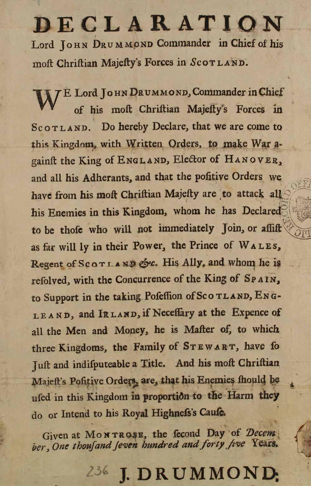 Printed handbill from Lord John Drummond, Scottish Commander, 2nd December, 1745.