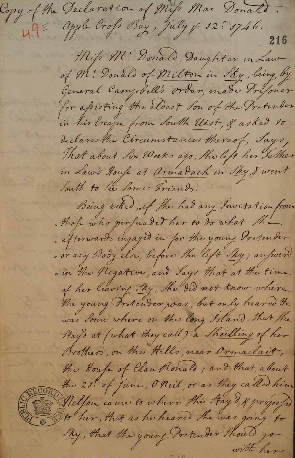 An extract from Flora MacDonald's statement on the escape of Charles Edward Stuart from South Uist (Outer Hebrides) to Skye. Catalogue reference: (SP 54/32 f.49E).