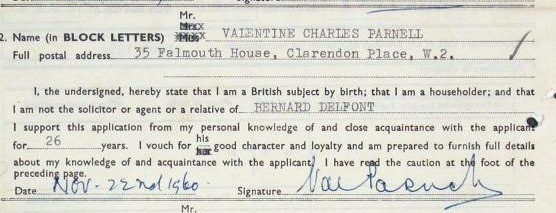 Reference from Valentine Charles Parnell supporting the application for naturalisation of Bernard Delfont (HO 405/58498)