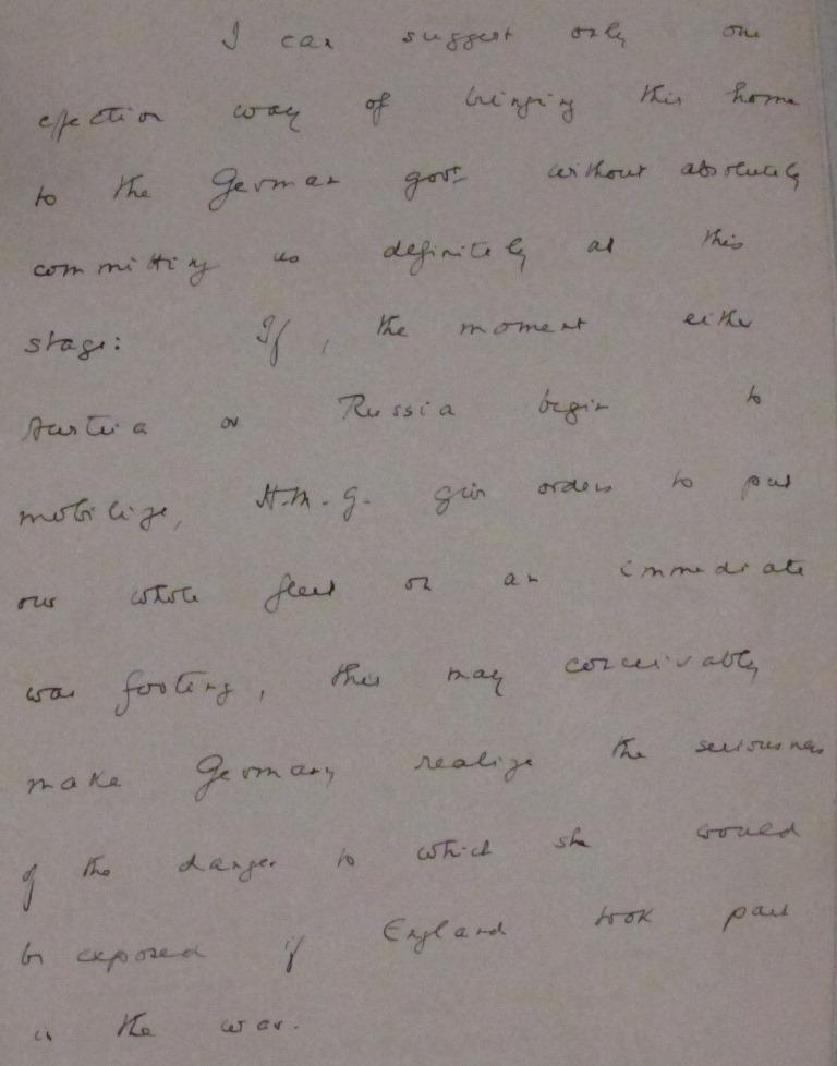 Sir Eyre Crowe's memo of July 25, in which he suggests sending a strong signal to the German Government - FO 371/2158