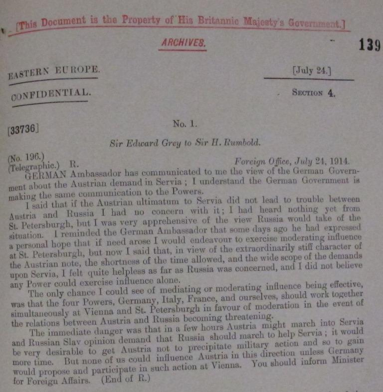 Sir Edward Grey's message to Sir Horace Rumbold, July 24 1914 - FO 371/2158