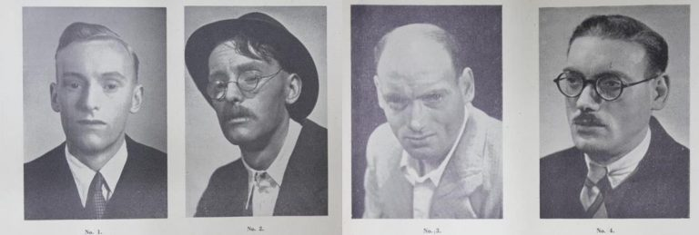 Examples of make-up techniques used by the Camouflage Section. Numbers 1 and 2 show the effects of a temporary disguise, and numbers 3 and 4 show the effects of a 'semi-permanent' disguise. Catalogue reference: HS 7/49.