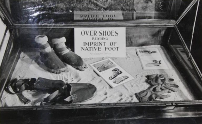 Another camouflage curiosity: 'Over-Shoes' for use in the Far East. The imprint was designed to disguise the agent's tracks, making them look like those of a barefoot 'Native' or a Japanese soldier. Catalogue Reference: HS 10/1/11, Photograph M.