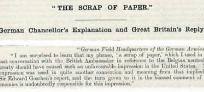 Part of the German Chancellor's interview to the Associated Free Press on 25 January 1915 explaining his use of the term 'a scrap of paper' to describe the Treaty of Belgian Neutrality. Catalogue ref: FO 881/10520