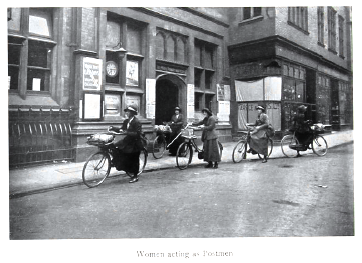 Photograph of women postmen cycling from the government publication Women's War Work, September 1916 ((MH 47/142/1)