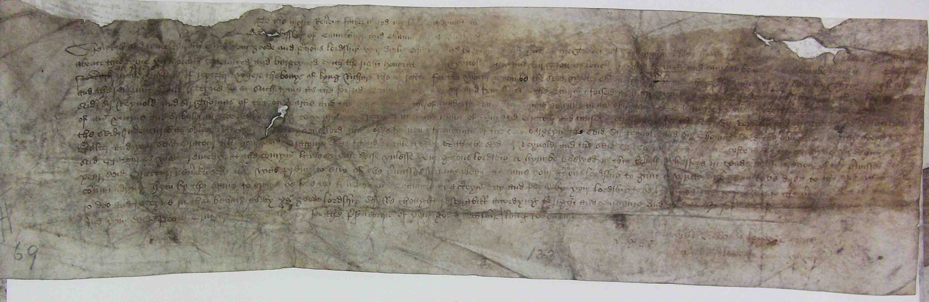 Chancery bill of complaint from Ralph Hill of Nottingham. He alleged that Walter Hylton had fraudulently inserted Hill's name into the indenture and obligations for the construction of King Richard III's tomb at Leicester. When Hill unknowingly defaulted on the agreements he became liable to powerful counsellors of the new king, Henry VII, for the resulting debts (which he was unable to pay); c. July 1496. (C 1/206/69)