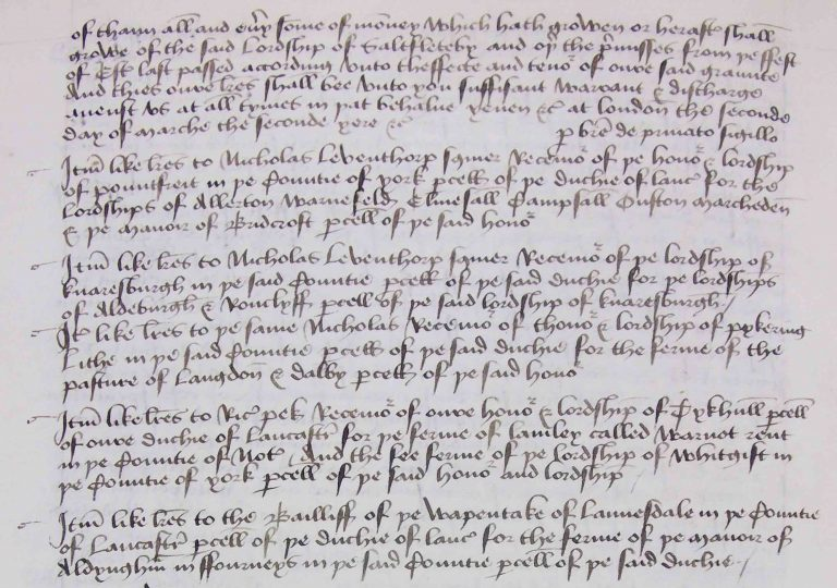 The second page of the enrolment. It names the officers in various other northern duchy lordships and the manors and income to be assigned to pay for the livings of the priests at York Minster. ((DL 42/20, fol 70v)