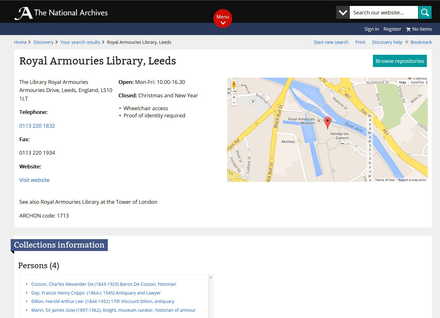 Screenshot showing details of an archive