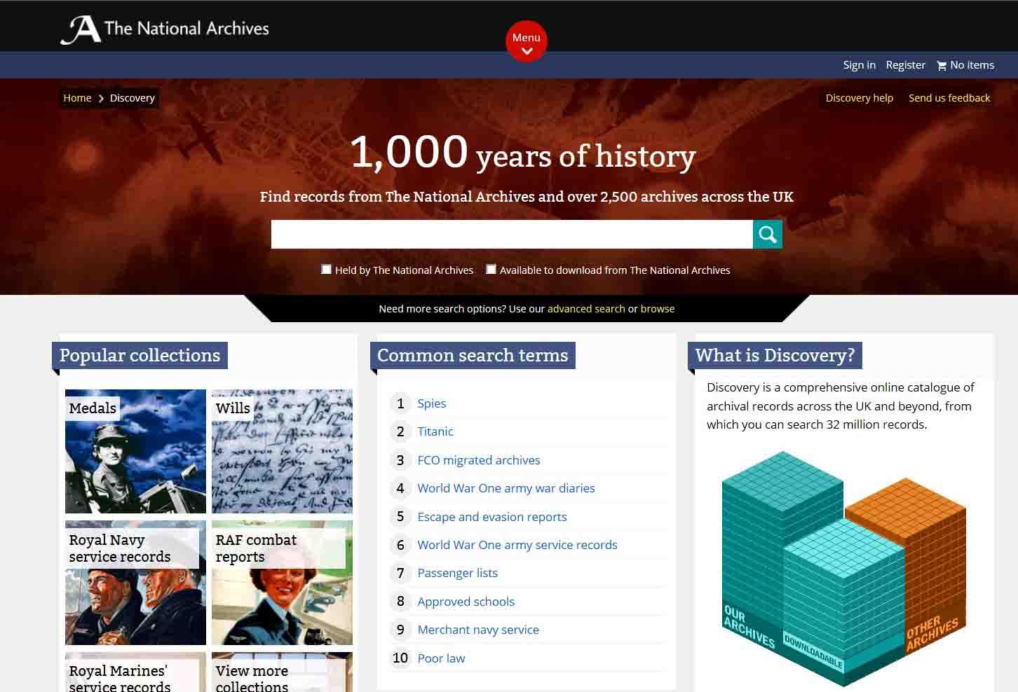 Screenshot of Discovery homepage