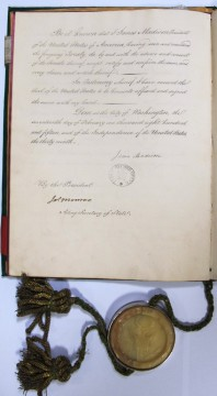 Ratification of Treaty of Ghent with the signatures of President James Madison and Secretary of State James Monroe. Catalogue reference: FO 94/4