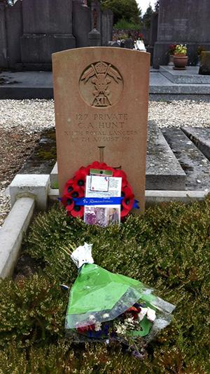 Charles Hunt's Grave in Bavay
