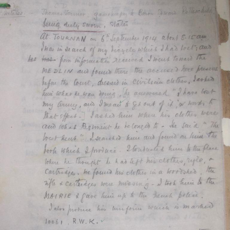 WO 71 387: Witness statement of Thomas Fermor, who discovered Private Highgate in a farmhouse