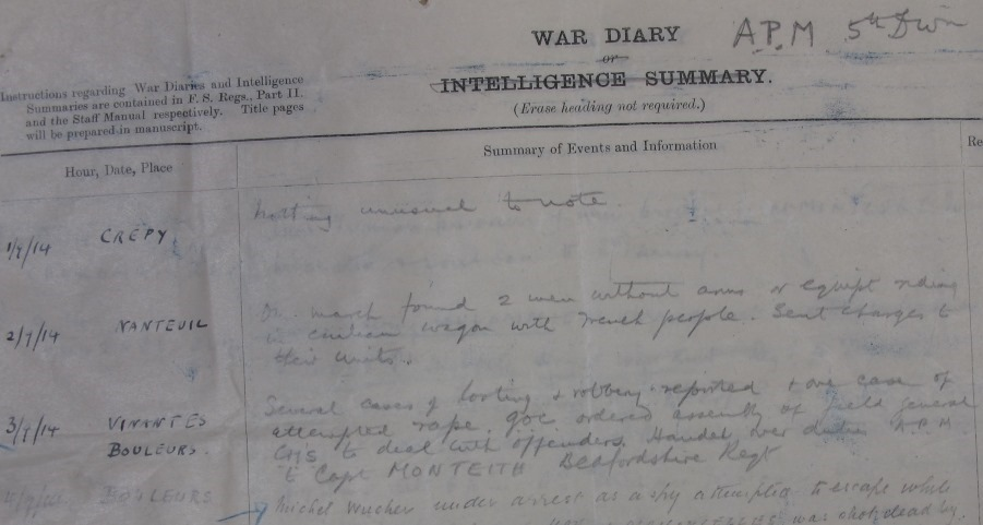 WO 154/33: War Diary entry from Assistant Provost Marshal, 5th Division, BEF, confirming reports of straggling, looting, robbery and rape during the first week of September 1914.