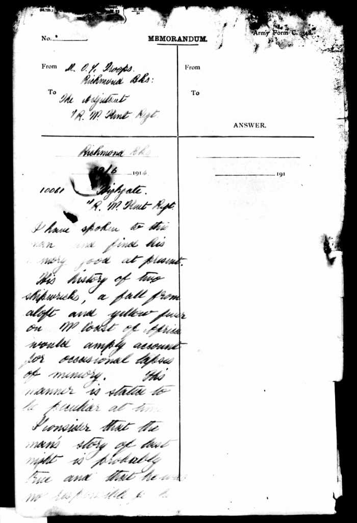 WO 363: Thomas Jame Highgate. Memo from Medical Officer at Richmond Barracks attached to service record of Thomas Highgate confirming history of memory loss.